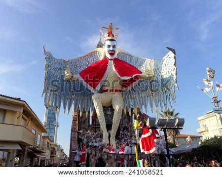 VIAREGGIO, ITALY - FEBRUARY 23:   allegorical float of Freddie Mercury at Viareggio Carnival held February 23, 2014 - stock photo