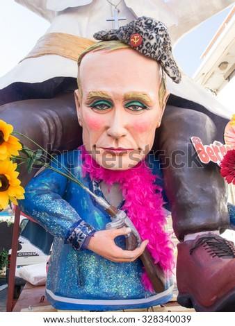 VIAREGGIO, ITALY - FEBRUARY 2:   allegorical float Putin at Viareggio Carnival held February 2, 2015 - stock photo