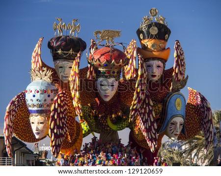 VIAREGGIO, ITALY - FEBRUARY 2:   float about carnival mask at Viareggio Carnival held February 2, 2013 - stock photo