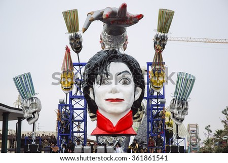 Viareggio, Italy - February 24, 2010: Parade float During The Carnival of Viareggio on the Tuscany Italy. The theme is the death of pop singer Michael Jackson - stock photo