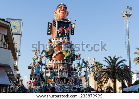 VIAREGGIO, ITALY - February 7:   parade of allegorical chariot at Viareggio Carnival held February 7, 2010 - stock photo