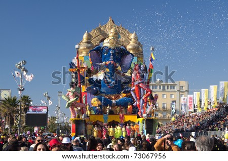 VIAREGGIO, ITALY - MARCH 8  Carnival float  with an oriental subject during the famous Carnival of Viareggio  on march 6, 2011 in Viareggio, Italy - stock photo