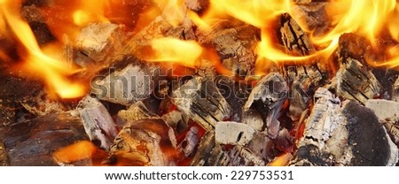 Vibrant and Bright Red Orange Flame and Fire in Fireplace at Winter. Red Orange Background - stock photo