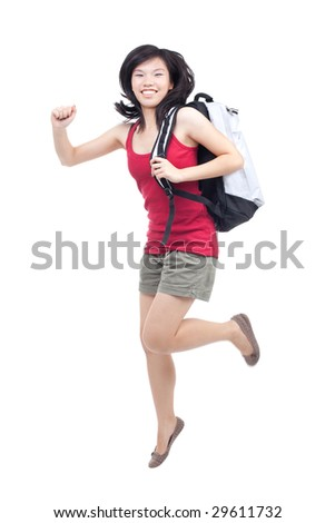 Vibrant and energetic portrait of an enthusiastic teenager heading back to college - stock photo