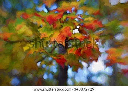 Vibrant autumn leaves changing from green to red turned into a colorful painting
