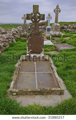 vibrant celtic grave ireland - stock photo