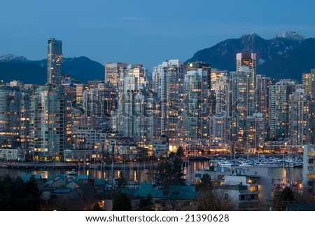 Vibrant Cityscape at Dusk - stock photo