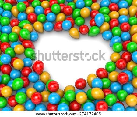 Vibrant Color Balloons Arranged as Heart Frame Shape on White Background 3D Illustration - stock photo