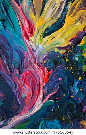 Vibrant colorful acrylic, oil paint strokes. Impasto traditional painting. Unique abstract artwork. Rainbow vivid colors. Background, texture, pattern.  - stock photo
