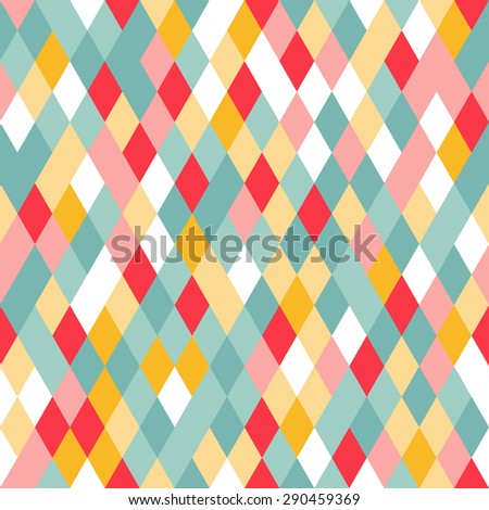 Vibrant Colorful Random Colored Geometric Seamless Pattern. Pixel Rhombus Background. Graphic Textured Puzzle Art. - stock photo