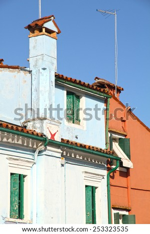 Vibrant, colorful street in Burano, Venice, Italy  - stock photo