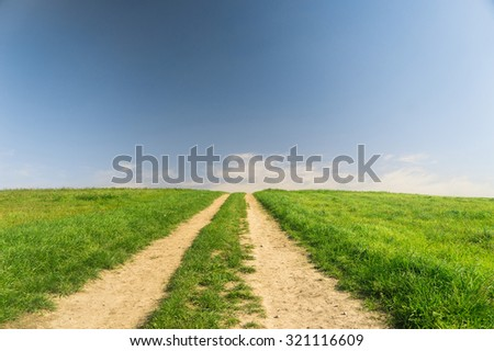 Vibrant Colors Road and Nobody  - stock photo