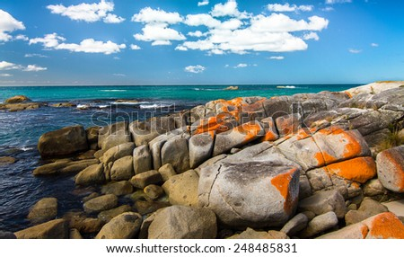 Vibrant Colors, Wonderful Weather, and Epic Coastal Scenery at the Bay of Fires, Tasmania, Australia - stock photo