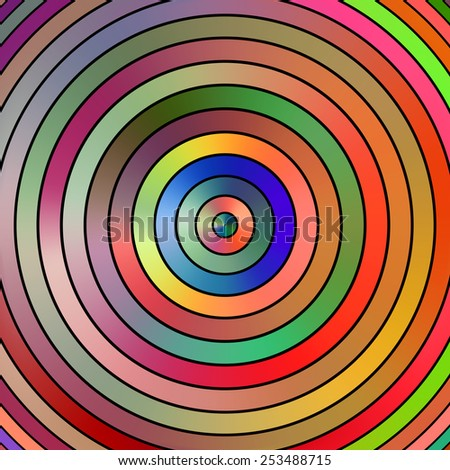 Vibrant graduated color circles on a black background. - stock photo