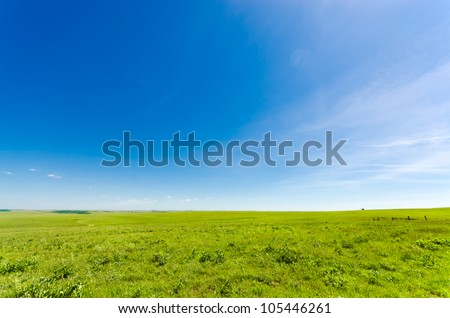 Vibrant green meadow under a blue sky - stock photo