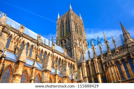Vibrant HDR image of Lincoln Cathedral, England, showing great architectural detail. - stock photo