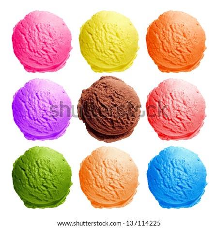 Vibrant ice cream scoops top view on white background - stock photo