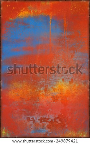 Vibrant Metal Texture with Rusty Seams Along Edges (Part of Colorful Metal Textures set, which includes 12 textures that fit together perfectly to form a huge image) - stock photo