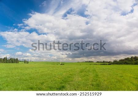 Vibrant Nature Green Plain  - stock photo