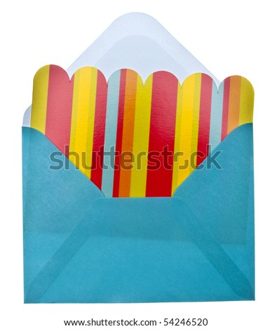 Vibrant Notecard with Envelope Isolated on White with a Clipping Path. - stock photo