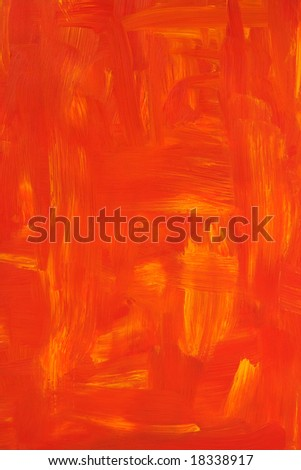 Vibrant oil painted background. Texture of red and orange brush strokes.