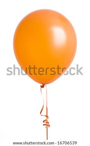 Vibrant orange balloon isolated on white background - stock photo