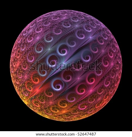 Vibrant pink, blue, orange, purple and yellow abstract heart sphere on black background - stock photo