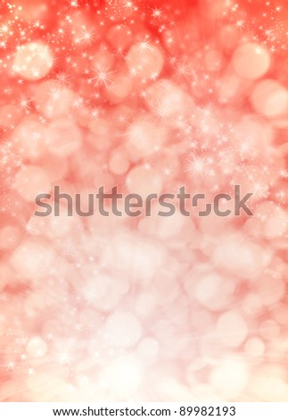 Vibrant pink blurred glowing lights and stars, colorful Christmas background illustration - stock photo