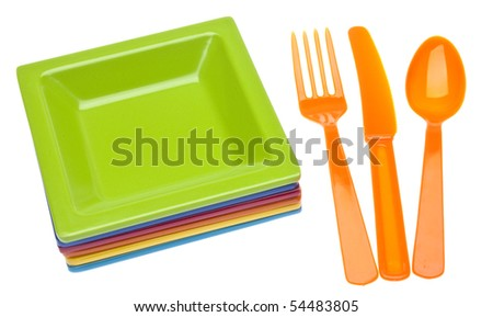 Vibrant Plastic Plates and Silverware. Isolated on White with a Clipping Path.  sc 1 st  Shutterstock & Vibrant Plastic Plates Silverware Isolated On Stock Photo (Royalty ...