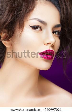 Vibrant portrait of a beautiful asian model  - stock photo