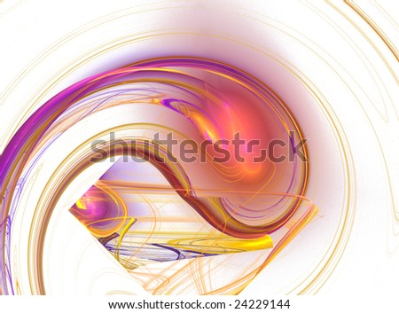 vibrant purple and yellow fractal - stock photo