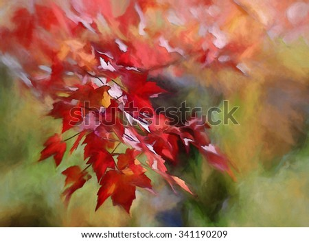 Vibrant red autumn leaves turned into a colorful painting