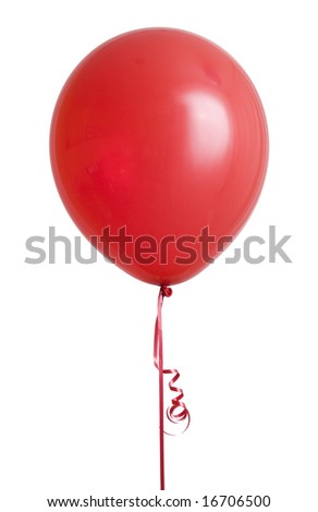 Vibrant red balloon isolated on white background - stock photo