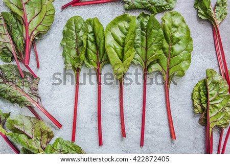 Vibrant red steams of spring chard, flat lay on marble background - stock photo