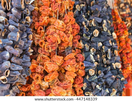 Vibrant showcase of dry pepper on turkish street market. - stock photo