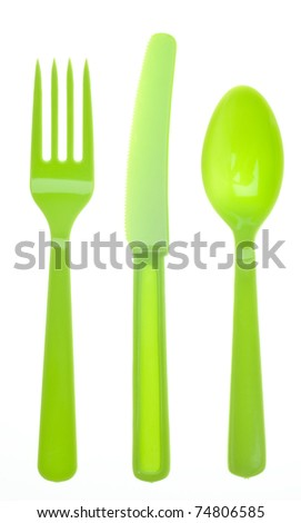Vibrant Silverware Isolated on White with a Clipping Path. - stock photo