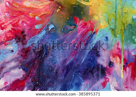Vibrant spectrum acrylic abstract painting with thick strokes and splashes of paint. Expressive color mixture. - stock photo