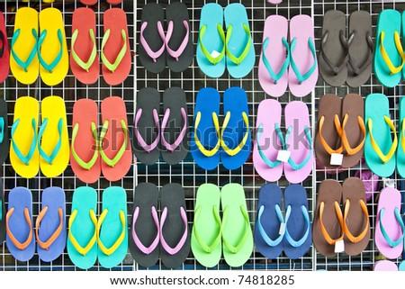 Vibrant summer flip flop sandals - stock photo