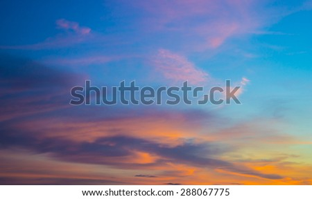 Vibrant Sunset sky and cloud