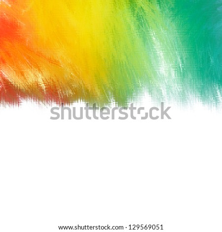 Vibrant textured paint effect abstract background with blended tropical colors in orange through green to turquoise with blank white copy space below - stock photo
