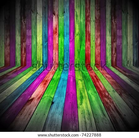 Vibrant Wooden Room - stock photo