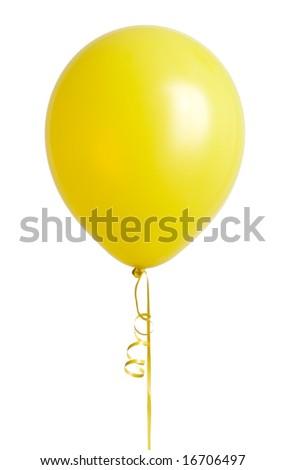 Vibrant yellow balloon isolated on white background - stock photo