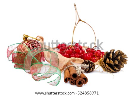 Viburnum branch with berries, cinnamon sticks, pine cones and ribbon isolated on white background. Christmas theme.