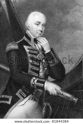 Vice Admiral Cuthbert Collingwood (1748-1810). Engraved by W.Finden and published The National Portrait Gallery Of Illustrious And Eminent Personages encyclopedia, United Kingdom, 1840.