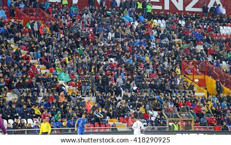 VICENZA, ITALY - October 13, 2015: UEFA Under-21 Championship Qualifying Round, football match between Italy and Republic of Ireland. Spectators in the stands of the Romeo Menti Stadium.