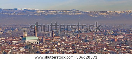 Vicenza, Italy, Panorama of the city with the famous Basilica Palladiana and the high clock tower