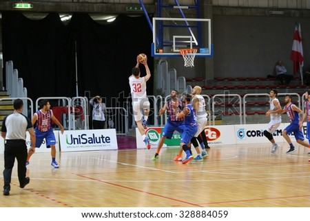 Vicenza, Italy. 18th October, 2015. Basketball match between Vicenza Pallacanestro and LTC Sangiorgese Basket