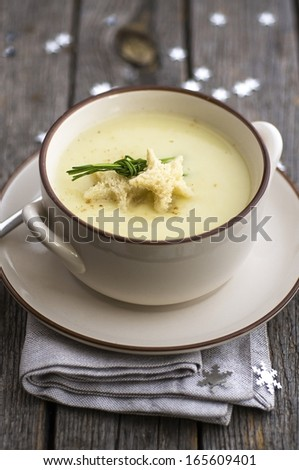 Vichyssoise, traditional french soup, made with Christmas decoration