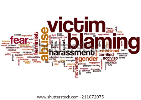 Victim blaming concept word cloud background - stock photo