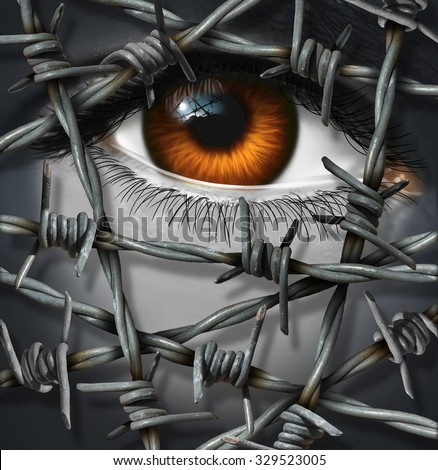 Victim concept and threat being kept out by barbed or barb wire as a security or psychological injury concept of suffering alone or refugee issues icon with a surreal human eye. - stock photo